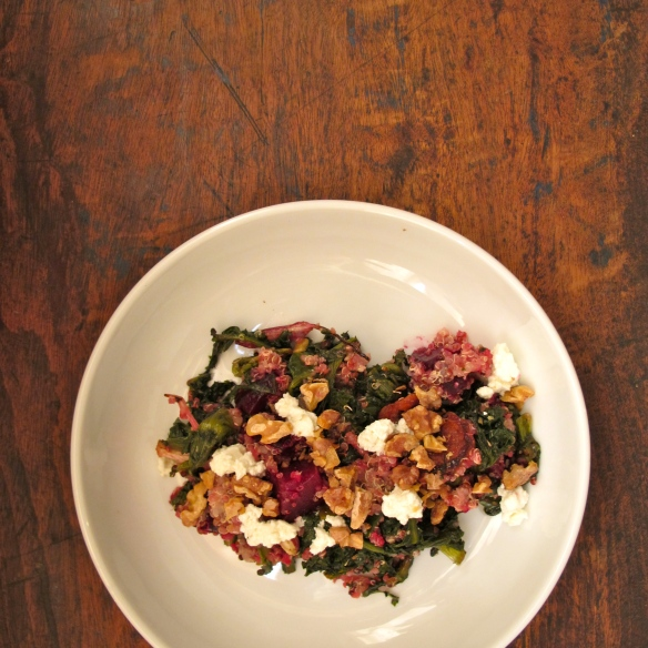 Roast escarole and beetroot quinoa